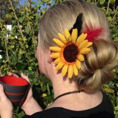 SUNFLOWER bright summer spring red black feather hair clip brooch bouquet hippie
