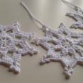 Large Crochet White Christmas Snow Flakes Set of 3