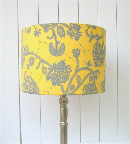 Yellow And Grey Fabric Lampshade Drum Table Floor Or