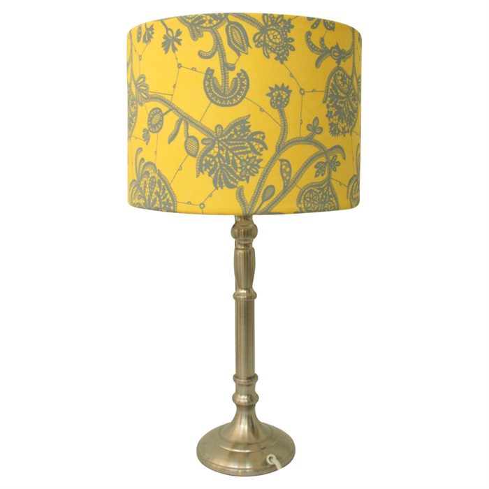 yellow and grey fabric lampshade drum table floor or ceiling pendant. Black Bedroom Furniture Sets. Home Design Ideas