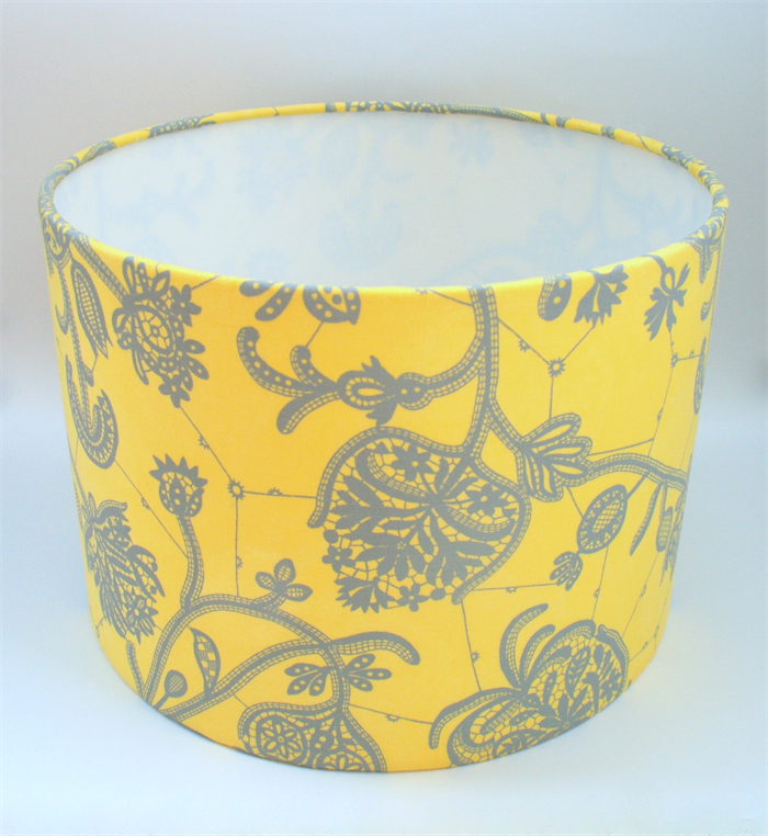 Yellow And Grey Fabric Lampshade Drum