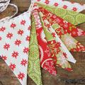 Christmas bunting, decoration Stars, hand stitched binding