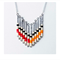 Orange Red Black Cream Beaded Retro Inspired Necklace