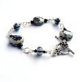 Blue and White Flower Ceramic Bracelet