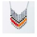 Orange Red Black Cream Beaded Retro Inspired Necklace