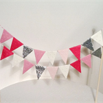 Cake Bunting/Cake Topper Double String Flags Nutcracker Suite, Pink/Cream/Silver