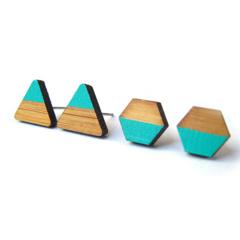 Aqua Green Dipped Triangle Wooden Laser Cut Earring Posts