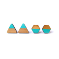 Aqua Green Dipped Triangle Wooden Laser Cut Earring Posts