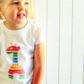 Rainbow Giraffe - toddler applique tee / stripes