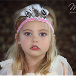Vintage Tiara Pink Velvet Feather Headband Headdress Baby Child Girls