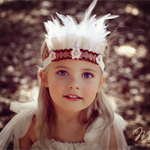 Vintage Shabby Chic Pink and Gold Feather Headband Headdress Baby Girls