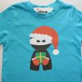 Christmas Santa Ninja Printed T-Shirt - Aqua - size 4