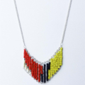 Cool Yellow Black Cream Beaded Abstract Necklace