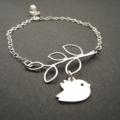 Branch and Love Bird Bracelet - Sterling Silver/Custom