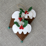 Set of 3, Christmas gingerbread hearts with a GREEN bell, lavender