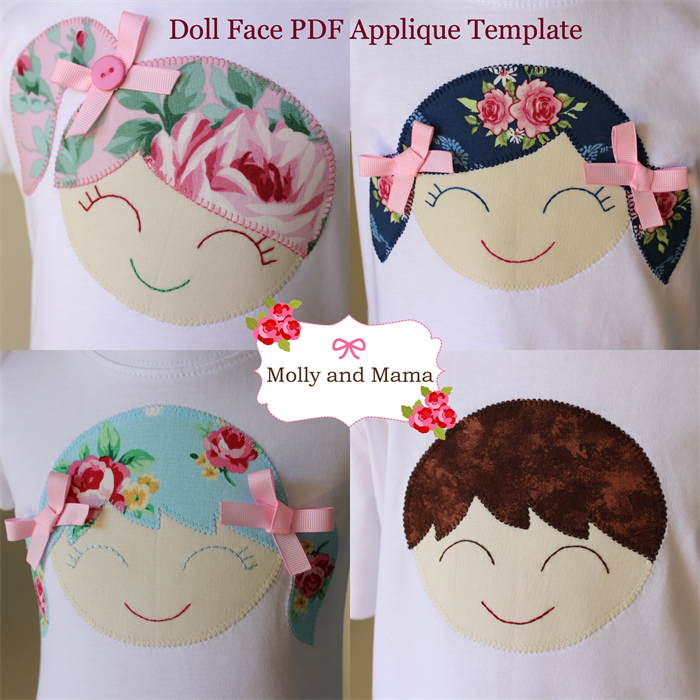 doll face pdf applique template pattern mollyandmama
