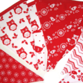 Christmas Red Owl Nordic Style Flag Bunting - Xmas hanging, Party Decoration
