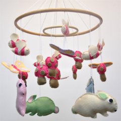 Bunnies, Bees and Butterflies - Baby mobile