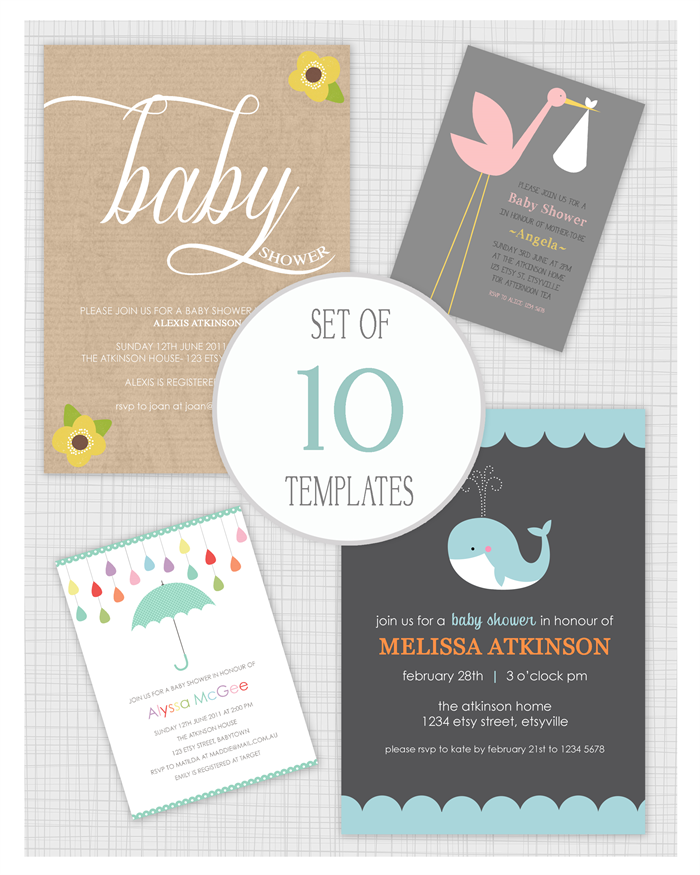 10 PSD Baby Shower Templates Mixed Designs Mini Pack 24