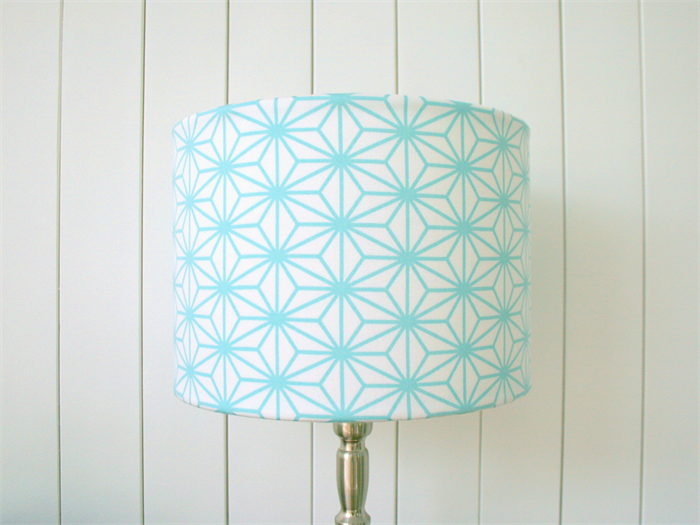 Blue geometric fabric lampshade for table or floor lamp bases blue geometric fabric lampshade for table or floor lamp bases mozeypictures Gallery