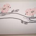 Pink Fabric Birds Gift Card