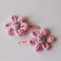 Pink Flower  Clip - Knitted Snap Hair Clips