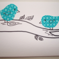 Teal Fabric Birds Gift Card