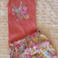 Baby girls girl size 0 set, harem pants & singlet top, butterfly flowers summer