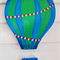 Blue and green hot air balloon wooden art.Free Shipping!