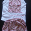 Baby girls girl size 0 set, shorts & tank top, pink lace flowers summer