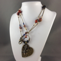 Steampunk Inspired  Mechanical Heart Pendant on Earthy Tones Long Necklace