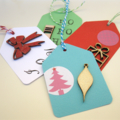 Christmas Gift Tags embellished with wooden flourishes Set of 8