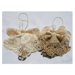 Vintage Doily Christmas Angels Decoration - Pair