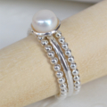 Freshwater Pearl (cupped setting) & Sterling Silver (beaded) stacking ring set