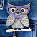 Wise Old Owl Laser Cut Wooden Brooch