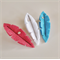 Feather Hair Clip Set - Red, White & Cyan