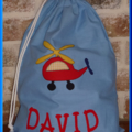 CHILDS PERSONALISED LIBRARY BAG - HELICOPTER