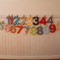 Fabric numbers - 20 custom made numbers 0-9 with pegs, string in bag