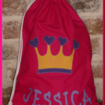 CHILDS PERSONALISED LIBRARY BAG - CROWN