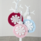 Crochet snowflake felt bauble decoration, Christmas tree, pink, frosty blue