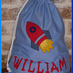 CHILDS PERSONALISED LIBRARY BAG - Rocket