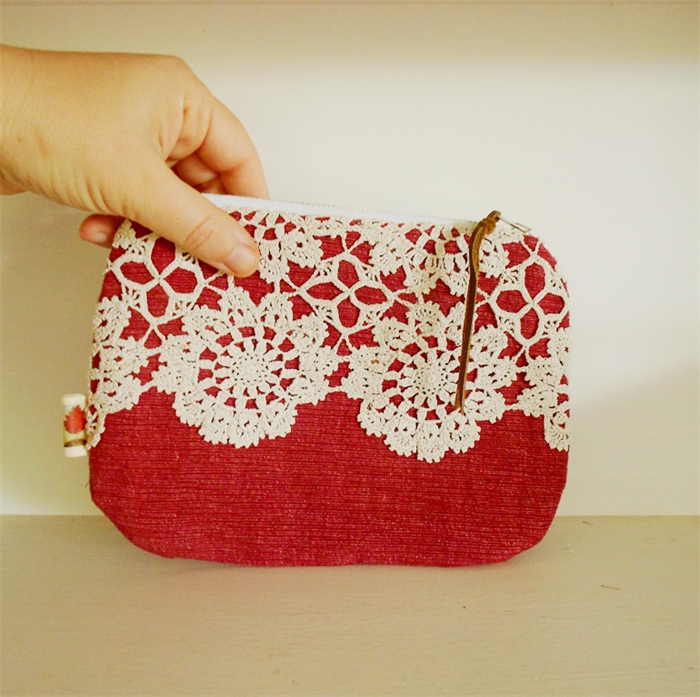 Crochet Lace Clutch Purse Red Zip Purse Upcycled Red Tree