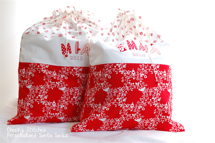 personalized santa sack red and white christmas sack with name