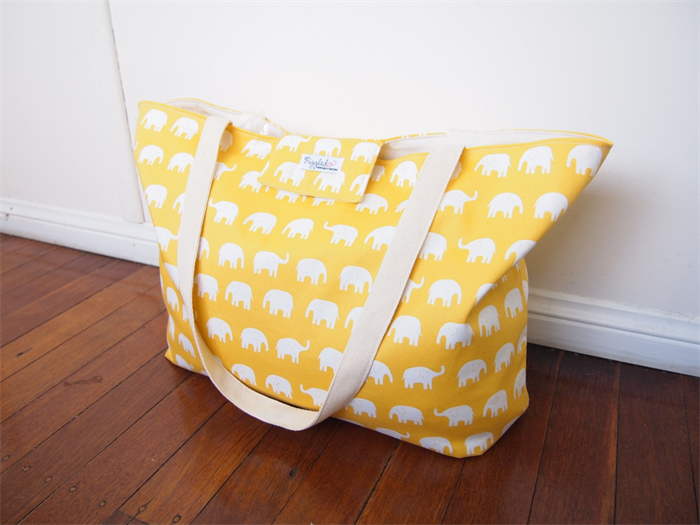 Extra Large Beach Tote Bag Ny With A Wet Pocket Yellow Elephant