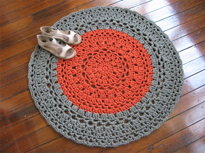 Free Crochet Rug Patterns Australia : Khaki copper - Crochet rug - mat - T-shirt yarn Chompa ...