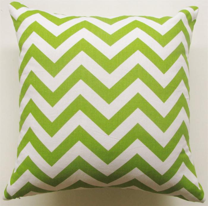 Lime Green and White Chevron Zig Zag Print Cushion 40cm - Retro Cushions