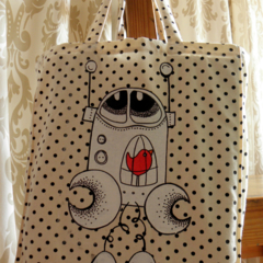 BADA and Bing tote Home is where the heart is white with black polka dot
