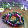 Colourful Kunzite and Jade Gemstone Bracelets