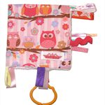 Taggy Snuggly Tag Toy Mini BABY Comforter Blankie . BABY GIFT - Pink Hoot Owls