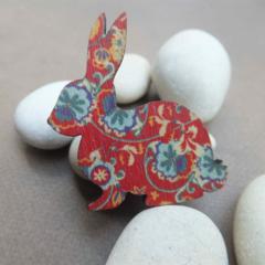 Red Floral Rabbit Brooch